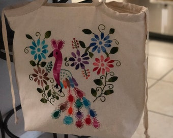 Embroidered Bag with quilted lining