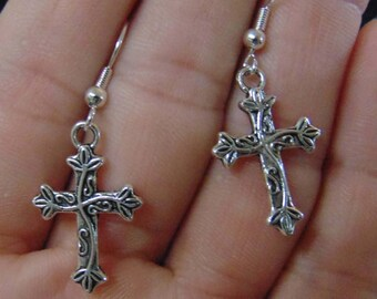 Silver Earrings, Silver Cross Earrings, Antiqued Silver Cross Earrings, Antiqued Silver Earrings
