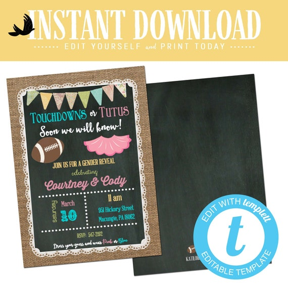 gender reveal invitation touchdowns tutus baby shower neutral twin football coed sprinkle couples burlap editable chalkboard | 1431 Katiedid