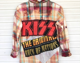 Distressed Flannel - KISS - Classic Rock - Music - Flannel Shirt - Bleached Flannel - SIZE SMALL
