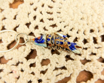 Vintage Articulated Fish Necklace, Chinese Cloisonne Fish Pendant, Blue Fish