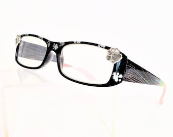 Paw Print Reading Glasses, Silver paw print, Readers +3.50
