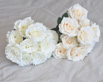Artifical Roses Silk Roses Silk Flowers for Wedding Bouquet,Wedding,Home Decor,Flower Arrangement,Ivory White Champagne