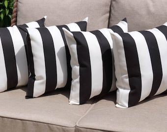 Deck Stripe Black and White STUFFED Outdoor Pillow, Black and White Stripe Patio Pillows, Black Stripe Accent Pillow - 4 Pack - Free Ship