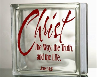 Christ the Way Glass Block Decal Tile Mirrors DIY Decal for Glass Blocks Christ the way truth and life