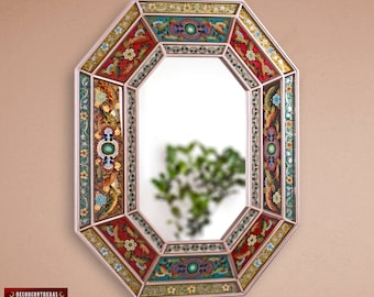 Handmade Large Decorative mirror, 'Colonial Legacy'- Vanity wall Mirror - Hand Painted glass style- Bathroom wall Mirrors - Peru Handicrafts