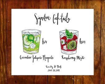 PDF - Custom Signature Cocktail Sign Drawing, personalized drinks illustration, his and hers, open bar, wedding menu,cheers, alcohol, rose
