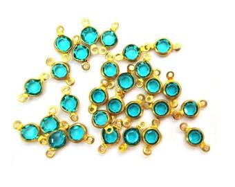10 Vintage SWAROVSKI channel Connector beads VINTAGE made in Austria, emerald green