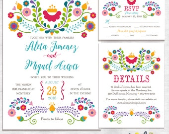 Fiesta Wedding Invitations / mexican wedding invitations / printable wedding invites / printed wedding invites