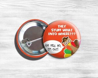 """Vegan Vegetarian Thanksgiving Turkey Pinback Button Pin 1.75"""""""