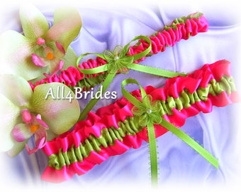 Wedding Bridal Leg Garters Fuchsia / Hot Pink and Green Wedding Colors, bridal accessories or prom garters