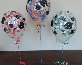 "Pick YOUR Confetti Colors: 11"" Custom Graduation Hat Confetti Balloons - Class of 2018, Seniors, High School, College, School, Spring, Prom"