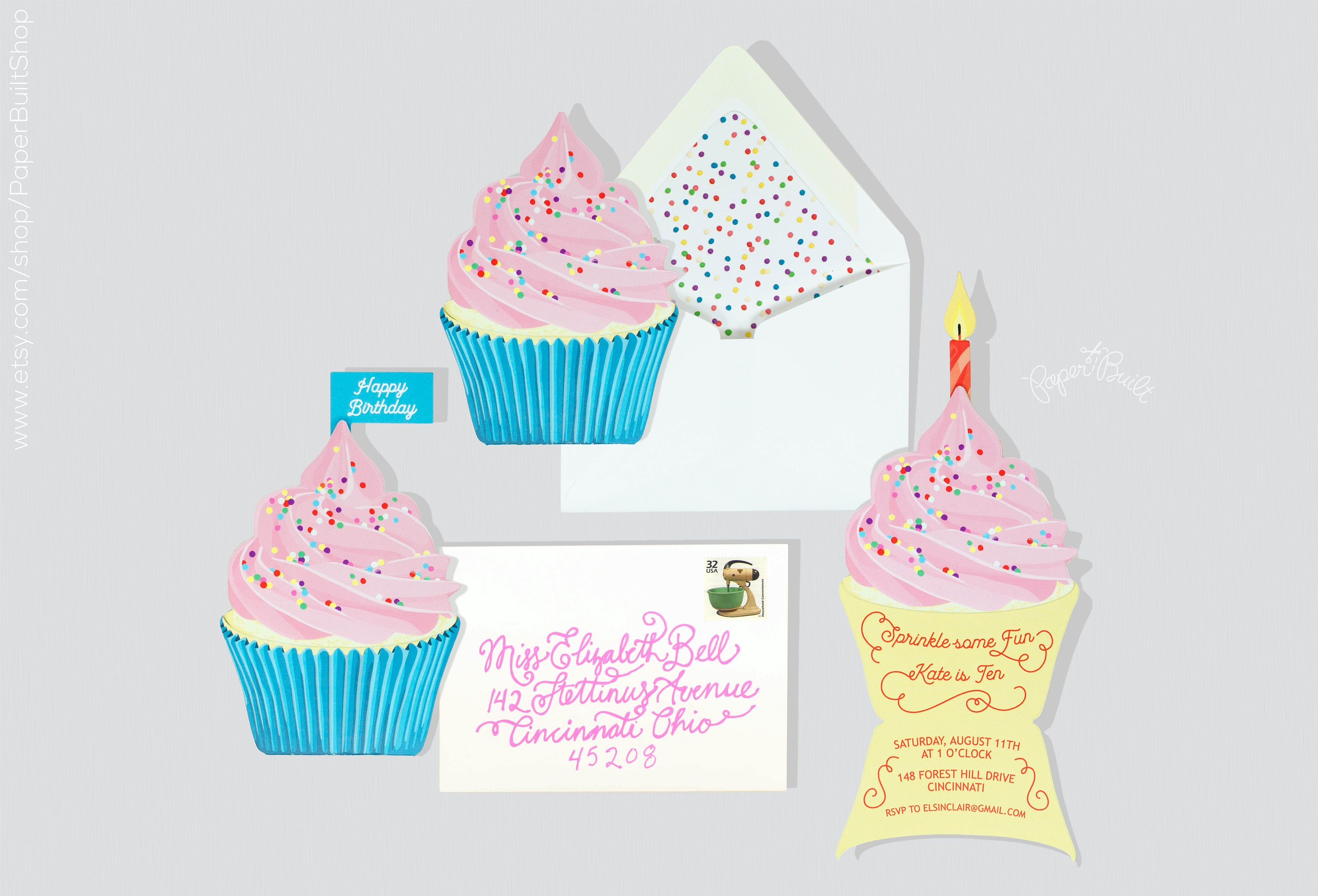 Cupcake Party Cupcake Invitation Baking Birthday Party