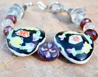 Avant Guarde Floral Ceramic Hand Painted Beads Artisan Handmade Handcrafted Chinese Asian Glass Lampwork Lamp Work Beaded Bracelet Toggle