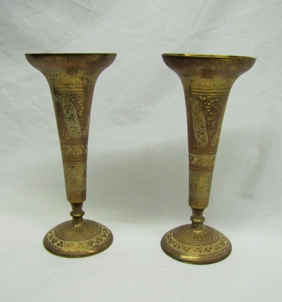 Pair Indian Brass Vases Vintage Etched Brass Vase Flute Vase