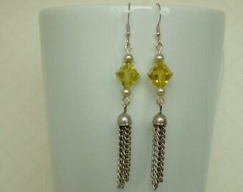 Yellow Swarovski Crystal Beaded Tassel Earrings