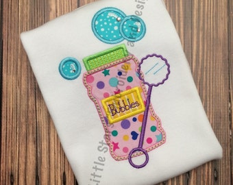 Bottle of Bubbles - Appliqued and Personalized