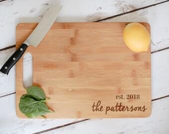 Custom Cutting Board, Engraved Bamboo Wedding Cutting Board, Engraved Anniversary Gift, Personalized Wedding Gift,Custom Wooden Chopping