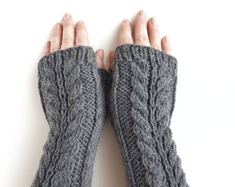Grey fingerless gloves, cable knit gray handwarmers, knitted armwarmers, wool mittens, womens mitts, winter gloves,