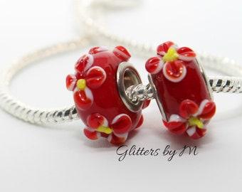 Red Lampwork Glass Flower Bead for European Charm Bracelets/Necklace
