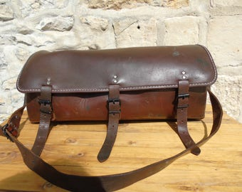 French antique, stunning thick leather, large tool bag/work satchel.  In excellent condition.  1940s.  Extremely well made - good and strong