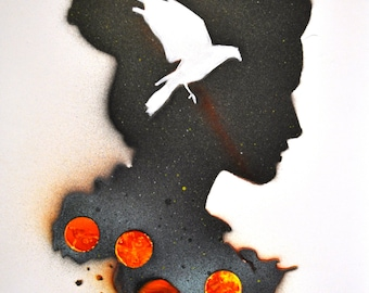 Female Silhouette Spray Painting