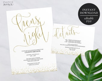 Printable Gold Hens Night Invitation | Editable Template | Hens Weekend | Gold Glitter | Hens Party | Gold Hens Night Invitation | Glitter
