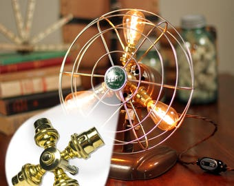 Fan Lamp Kit   DIY Kit   Candelabra   How To   Lamp Parts   Lamp Supplies   Guide   Parts   Tutorial Fan Lamp   Brass   4 Socket