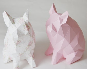 Porkido - My little paper piglet folding kit for a diamond style low poly pig money-box print template papercraft