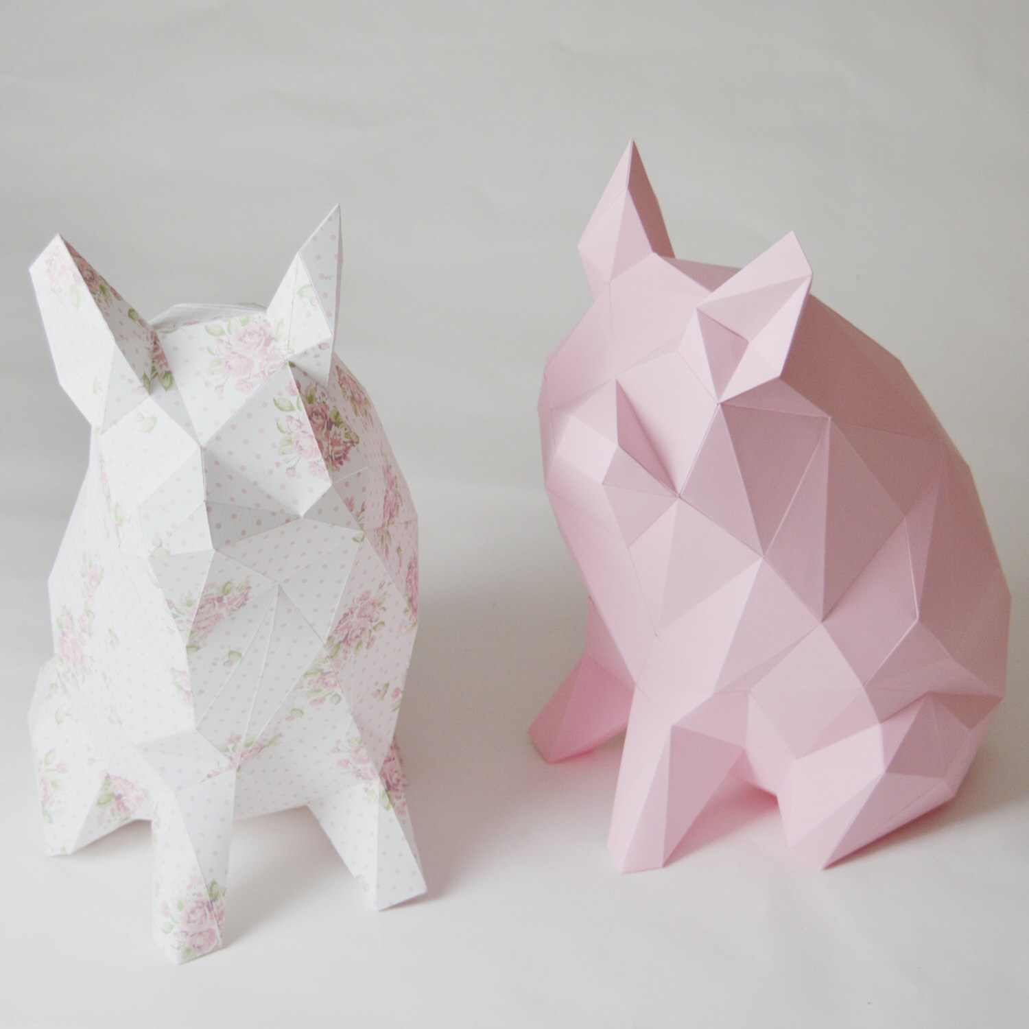 Diy geometric paper vase template final object 33cm porkido my little paper piglet folding kit for a diamond style low poly pig money reviewsmspy