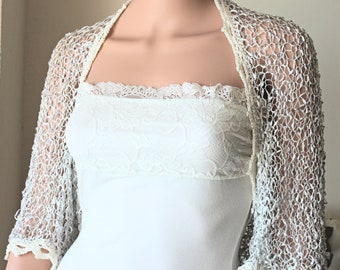 Light grey and white bridal silk bolero, Woman crochet wedding shrug, Silk shrug