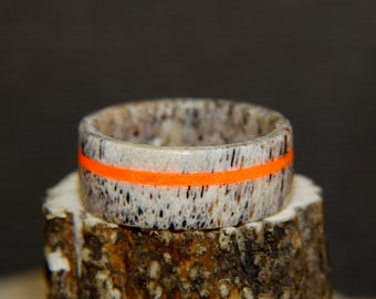 "Antler Ring ""Safety Orange"" Glow Inlay"