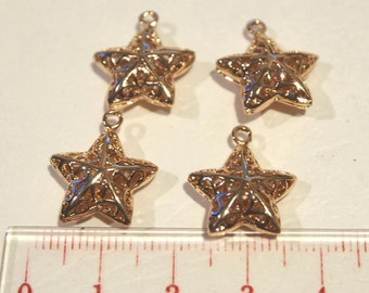 Gold plated metal star charms