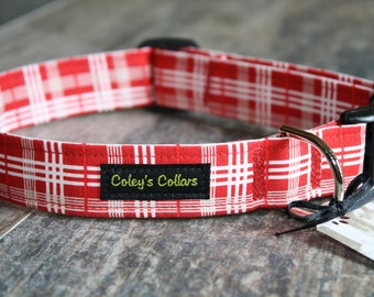"""Dog Collar Custom """"The Pawsitively Plaid in Red"""""""