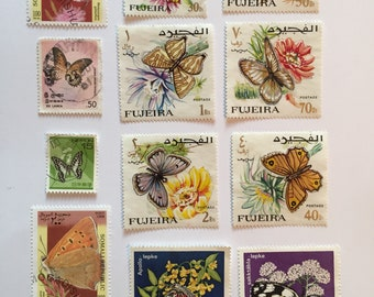 12 Beautiful Butterfly Stamps - Variety