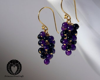 amethyst and onyx grapes earrings