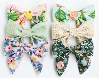 Hair Bow, Sailor Bow, Bow Headband, Headband, Fabric Hair Bow, Baby Bow, Nylon Headband, Alligator Clip - Menagerie Mini Sailor Bows