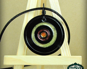 Striking Bullseye Style Resin and Acrylic OOAK Necklace in Green, Copper, and Orange