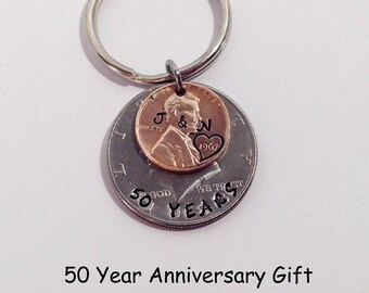 50th Anniversary Gifts, Anniversary Gift, 50th Wedding Anniversary, 50th Anniversary Keychain, Penny Keychain, Anniversary Gift, 1968 Penny