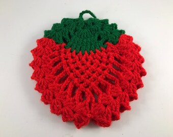 Vintage Hand Crochet Red and Green Strawberry Potholder
