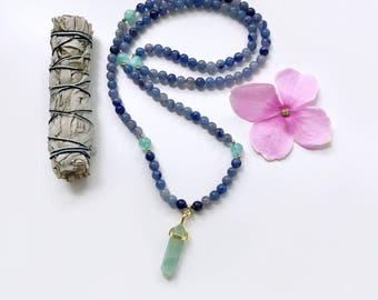 Strength Mala, Prayer Beads, Mala Necklace, 108 Mala Beads, Mala Beads, Blue Aventurine Necklace, Meditation Beads, Yoga Necklace, Yoga,MBAG