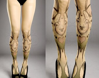 Tattoo Tights -  closed toe nude color one size Triple Deer full length printed tights pantyhose tattoosocks tattootights