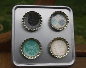 Custom refrigerator fridge kitchen office bottle cap magnets set gift black and turquoise