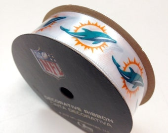 "7/8"" NFL Miami Dolphins Ribbon, 9 foot spool, Licensed NFL Offray Ribbon"