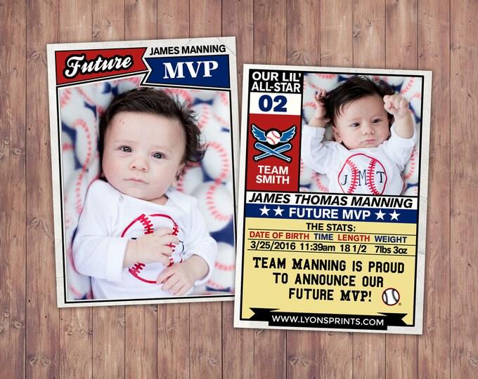Baseball card, football, pregnancy announcement, birth announcement, baby boy, sports, baby shower, baby announcement, baby shower,