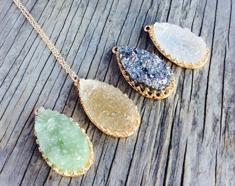 Long Necklace, Druzy Necklace, Long Necklace Pendant, Long Statement Necklace, Long Beaded Necklace