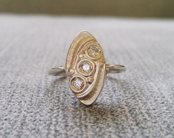 Antique White Gold Diamond Engagement Ring Vintage Art Deco Bohemian Hippie Eco Friendly White 14k Gold Size 6.25