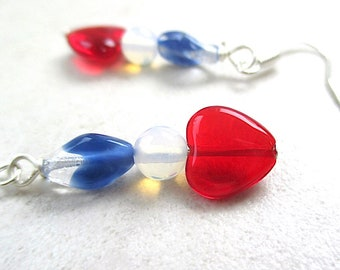 All American Heart Earrings, Red White & Blue Dangles, Patriotic Jewelry for July 4th, US Holidays, Made in America, USA Flag Colors E512
