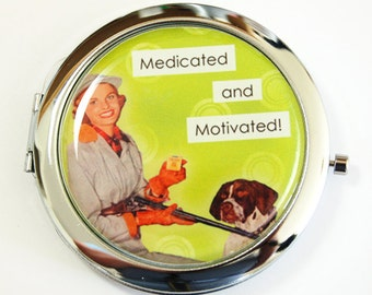Funny Compact mirror, mirror, pocket mirror, Humor, compact mirror, gift for her, green (2533)