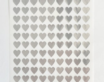 Heart Stickers, 108 Silver Stickers, Stickers Labels, Envelope Seals, Self Adhesive Stickers Labels, Wedding Invite Seals, Packaging